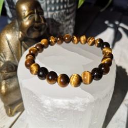 bracelet oeil de tigre 8mm bouddha et sélénite gros plan