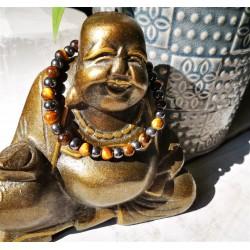 bracelet oeil de tigre et hématite bouddha 6mm