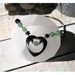 Collier cœur hématite et aventurine verte