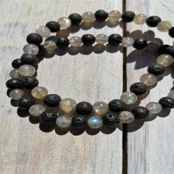 bracelet labradorite et pierre de lave 6mm