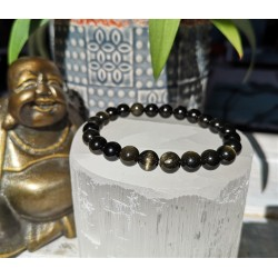 bracelet obsidienne dorée 8mm