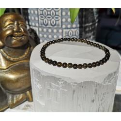 bracelet obsidienne dorée 4mm