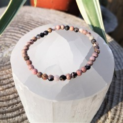 Bracelet rhodonite 4mm facetté