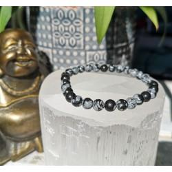 bracelet obsidienne flocon de neige 6mm