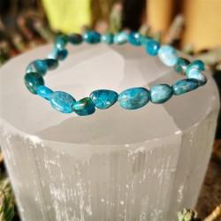 Bracelet apatite bleue nuggets