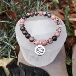 bracelet guérison émotionnelle rhodonite