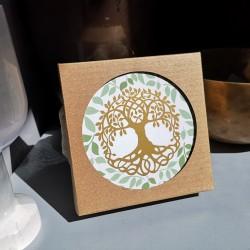 sous verre arbre de vie vert et or