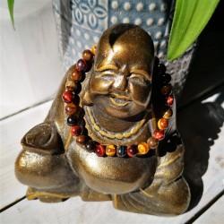bracelet 3 yeux oeil de tigre, taureau et faucon 6mm bouddha